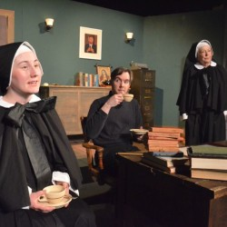 "Nina Robinson-Poole as Sister James (left) and Veronica Young as Sister Aloysius Beauvier (right) question Patrick Harris as Father Flynn about his relationship with an altar boy in New Surry Theatre's production of ""Doubt: A Parable."""