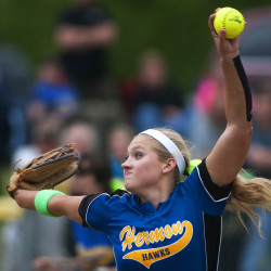 Karli Theberge of Hermon High School, pictured pitching against Old Town in the Class B North semifinals on June 11, on Thursday was named Miss Maine Softball, the top senior player in the state.