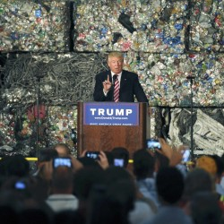 Republican U.S. presidential candidate Donald Trump delivers a speech on Tuesday at the Alumisourse Building in Monessen, Pennsylvania.