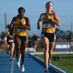 Carsyn Koch (right) nears the finish line to win the 800-meter final at the NCAA Div. II Track and Field Championships held May 28 in Bradenton, Florida.
