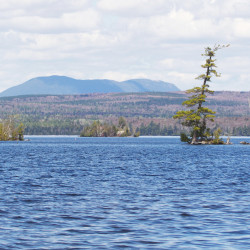 Big Spencer Mountain is seen across Moosehead Lake from the beach at Lily Bay State Park in the town of Beaver Cove near Greenville.