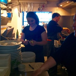 Trekkers LEAP intern Alex Barstow prepping vegetables in the In Good Company kitchen with Chef Zeph Belanger