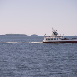 A ferry in Penobscot Bay carrying vehicles and passengers from Islesboro to Lincolnville.