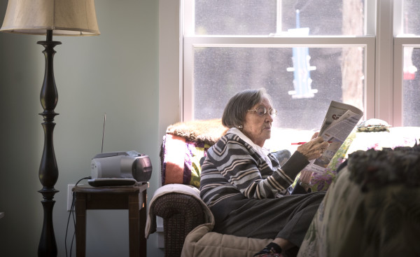 Boardman Cottage resident Florence Cross, 91, works on a crossword puzzle in her room Friday morning. Cross moved to the Islesboro facility a few weeks ago from her home in Augusta in order to be closer to her daughter-in-law who lives on the island.