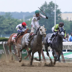 Creator (13) ridden by Irad Ortiz edges out Destin (2) ridden by Javier Castellano to win the 148th running of the Belmont Stakes at Belmont Park.