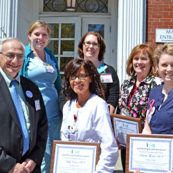 PHOTO: MDI Hospital is pleased to announce the five winners of its 2016 Nursing Excellence Awards. Back Row: Cynthia Lawson, RN, Sherri Hall, RN, Elise O'Neal, RN. Front Row: Art Blank, MDI Hospital President/CEO, Vicky Eaton, RN, and Patricia Thurlow, RN.