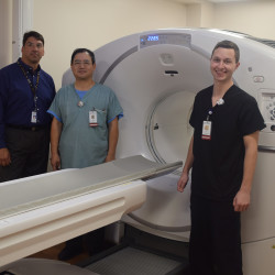 June 14 marked the first patient day on TAMC's new PET/CT scanner.  This technology is a powerful tool in cancer diagnosis and treatment, and having it available locally not only provides convenience for patients, but opens up this higher level of care to those who could not access it before.  On hand to showcase this exciting new addition to TAMC's imaging department were, from left: Randy Bacon, director of ancillary services; Sam Yu, lead nuclear medicine technician; and Nick Boucher, nuclear medicine technician.