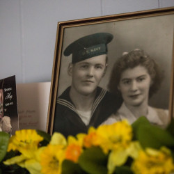 """A photo of Linwood """"Bud"""" Carroll (left) and his wife, Gwendola """"Dolly"""" Carroll, can be seen on Friday in their home in Greenbush. The pair will celebrate 75 years of marriage on Tuesday, July 5."""