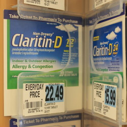 Claritin-D, a decongestant medication that includes pseudoephedrine, at a Rite Aid in Presque Isle. Rite Aid and other stores are phasing out non-prescription sales of pseudoephedrine-containing products in select areas, in response to ongoing problems with diversions for meth manufacturing.