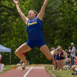 Lake Region's Kate Hall, here competing in the long jump at the  Class B state track championships on June 6, 2015, in Bath, has advanced to the long-jump finals at the U.S. Olympic Track and Field Trials in Eugene, Oregon.