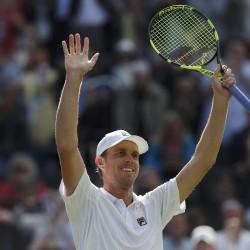 American Sam Querrey celebrates after defeating World No. 1  Novak Djokovic at Wimbledon on Saturday.
