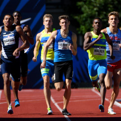 Isaiah Harris and Chris Low (middle) and Shaquille Walker (right) compete during qualifying heats in the men's 800m in the 2016 U.S. Olympic track and field team trials at Hayward Field in Eugene, Oregon.  The former Lewiston High School track star advances to Monday's final.