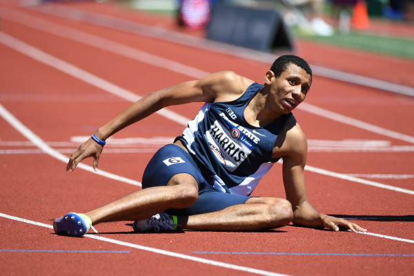 Isaiah Harris reacts after competing in the men's 800m semifinals in the 2016 U.S. Olympic track and field team trials at Hayward Field in Eugene, Oregon, on Saturday. The former Lewiston High School track star advances to Monday's final.