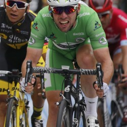 Team Dimension Data rider Mark Cavendish of Britain sprints to the finish line to win the third stage of the Tour de France cycling race Monday in Angers, France.