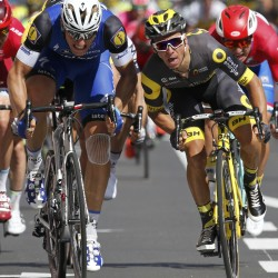 Quickstep rider Marcel Kittel of Germany (left) wins at the finish line ahead Direct Energie rider Bryan Coquard of France (right) during the fourth stage of the Tour de France Tuesday in Limoges, France.