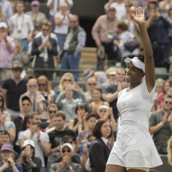 Venus Williams celebrates match point during her match against Yaroslava Shvedova during the quarterfinal round Tuedsay at Wimbledon.