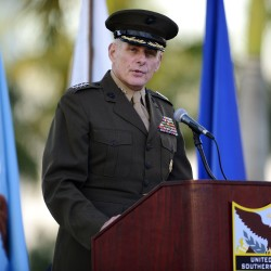 U.S. Marine Gen. John F. Kelly addresses the crowd during a change of command ceremony at the United States Southern Command in Doral, Florida, Nov. 19, 2012.