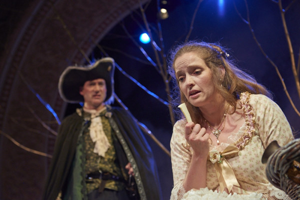 Cyrano de Bergerac, played by Christopher Holt, (left) listens as Roxanne, portrayed by Marjolaine Whittlesey, talks about her love for Christian in Theater at Monmouth's production of &quotCyrano.&quot