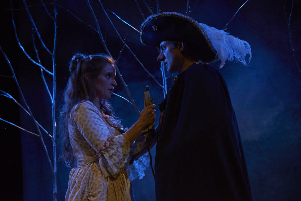 Roxanne, portrayed by Marjolaine Whittlesey, talks with Cyrano de Bergerac, played by Christopher Holt, about how her love for Christian is fueled by his beautifully written letters in Theater at Monmouth's production of &quotCyrano.&quot