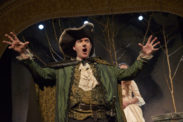 Christopher Holt as Cyrano de Bergerac attempts to woo Roxanne, portrayed by Marjolaine Whittlesey, despite his unusually large nose, which he believes makes him ugly, in Theater at Monmouth's production of &quotCyrano.&quot