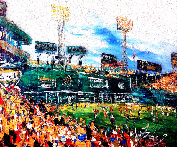 A puzzle of Fenway Park, made from a painting which Jay Hollis scanned and printed on epoxy coated plywood.