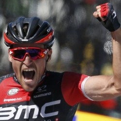 BMC Racing team rider Greg Van Avermaet of Belgium celebrates as he crosses the finish line to win the fifth stage of the Tour de France on Wednesday.