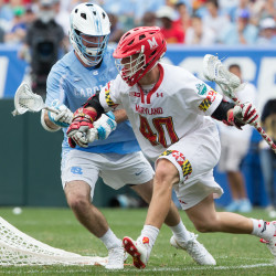 Maryland Terrapins midfielder Connor Kelly (right) drives against North Carolina Tar Heels midfielder Brett Bedard during their lacrosse game May 30 at Lincoln Financial Field in Philadelphia, Pennsylvania. Houlton resident Ken Ervin is looking to bring lacrosse to the youths of Aroostook County.