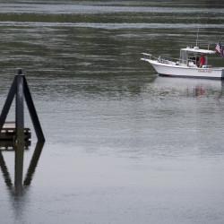A boat leaves the dock in Bucksport, July 6, 2016.