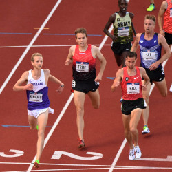 William Kincaid (from left), Ben True and Ryan Hill compete in the men''s 5,000-meter first round heats in the 2016 U.S. Olympic track and field team trials at Hayward Field in Eugene, Oregon.