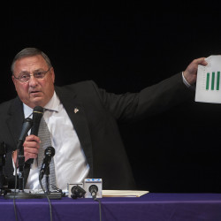 Gov. Paul LePage addresses the audience during a town hall meeting at Bucksport Middle School, Sept. 29, 2015.