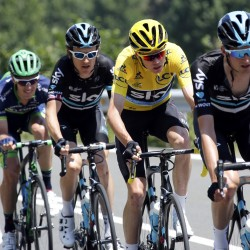 Team Sky rider Chris Froome of Britain (yellow jersey), the overall race leader, competes during the ninth stage of the Tour de France Sunday from Vielha Val d'Aran, Spain to Andorre Arcalis, Andorra.