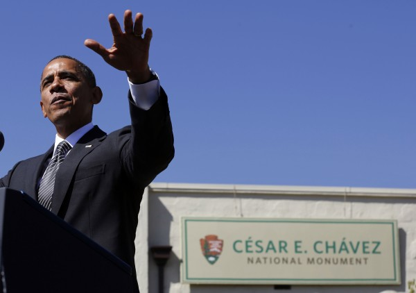 U.S. President Barack Obama speaks at the Cesar E. Chavez National Monument in Keene, California.