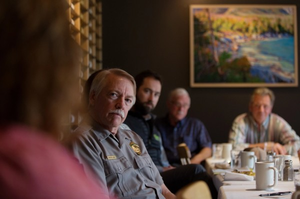 National Park Service Director Jonathan Jarvis listens to local residents' opinions on a proposed national monument in the North Woods of Maine during a breakfast gathering in Millinocket.