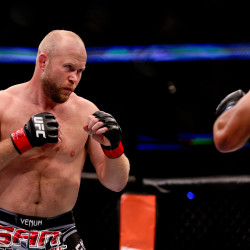Tim Boetsch (left) fights Dan Henderson during UFC Fight Night at the Smoothie King Center in New Orleans on June 6, 2015.