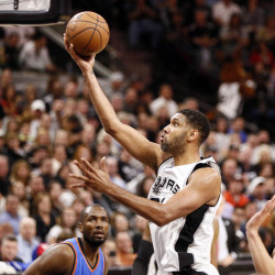 San Antonio Spurs power forward Tim Duncan puts in a shot during an NBA playoff game against the Oklahoma City Thunder on May 2 in San Antonio, Texas.