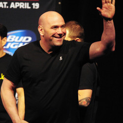 UFC president Dana White waves to the crowd during a weigh-in for UFC on FOX 11 at Amway Center in Orlando, Florida, on April 18, 2014.