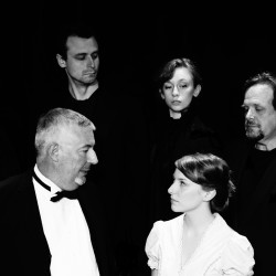 "The acting company at the Acadia Repertory Theatre in Somesville presents Jeffrey Hatcher's ""Dr. Jekyll and Mr. Hyde"" through July 24. (Back row) Jonathan Wells, David Blais, Mary Paola and Frank Bachman portray Edward Hyde and (front row) Bernard Hope plays Dr.  Henry Jekyll and Hannah Kulus is Elizabeth Jelkes."