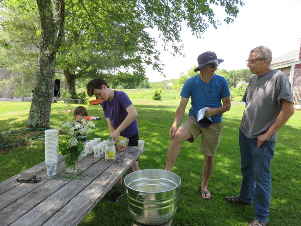 Hugh Costigan (age 13) pours lavender lemonade for visitors to his family's farm on their first open farm day. On the left is his brother Des (age 3), and on the right is his father Patrick, speaking with a guest.
