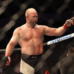 Tim Boetsch reacts after defeating Josh Samman by TKO in the second round at UFC Fight Night 91 at Denny Sanford Premier Center in Sioux Falls, South Dakota, on Wednesday night.