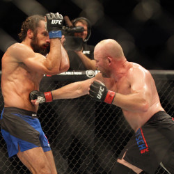 Tim Boetsch (right) fights against Josh Samman during UFC Fight Night at Denny Sanford Premier Center in Sioux Falls, South Dakota.
