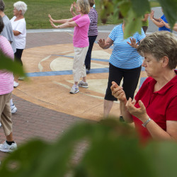 Rita Bridge (right) concentrates while participating in a public tai chi demonstration and class on the Bangor Waterfront last summer. The event was sponsored by the Bangor-based Eastern Area Agency on Aging, which uses an evidence-based tai chi program to help prevent falls by improving seniors' strength, balance and coordination.