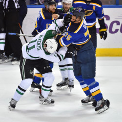 St. Louis Blues right wing Ryan Reaves (75) fights with Dallas Stars left wing Curtis McKenzie (11) during the third period in game three of the second round of the 2016 Stanley Cup Playoffs at Scottrade Center in St. Louis.