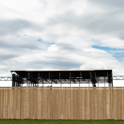 The wood fence surrounding Bangor's Waterfront Concerts.