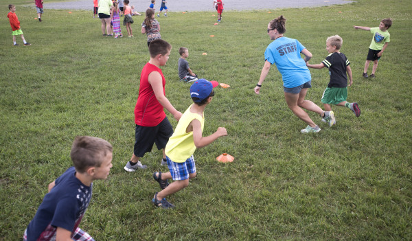 Children play a game during a Bangor Parks and Recreation summer program on July 11 at the 14th Street School in Bangor.