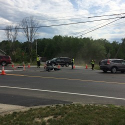 A Brewer man, approximately 44, was seriously injured when a driver exiting Upper Dedham Road collided with the Brewer man's motorcycle as he headed towards Ellsworth on Route 1A.