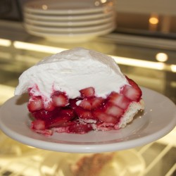 This piece of strawberry pie is among the dessert offerings Helen's had available to patrons when it reopened in Machias, May 19, 2015.