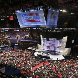Delegates fill the floor during the first day of the Republican National Convention on Monday in Cleveland, Ohio.