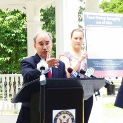 U.S. Rep. Bruce Poliquin, R-Maine, unveiled his plans Tuesday for the Food Stamp Integrity Act of 2016, legislation he plans to sponsor this week. Poliquin said the bill will make it harder for people to replace missing cards and bans those convicted of welfare fraud and drug trafficking from ever receiving benefits.