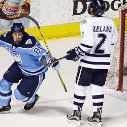 University of Maine hockey's Brian Morgan celebrates after scoring a second period goal as the Black Bears took on the Wildcats of New Hampshire at the Cross Insurance Arena in Portland in this December 2015 file photo.