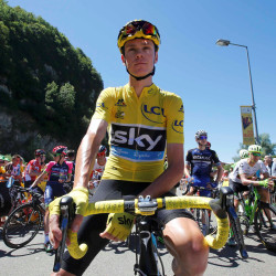 Yellow jersey holder, Team Sky rider Chris Froome of Britain, prepares for the start of the 16th stage of the Tour de France Monday in Moirans-en-Montagne, France.